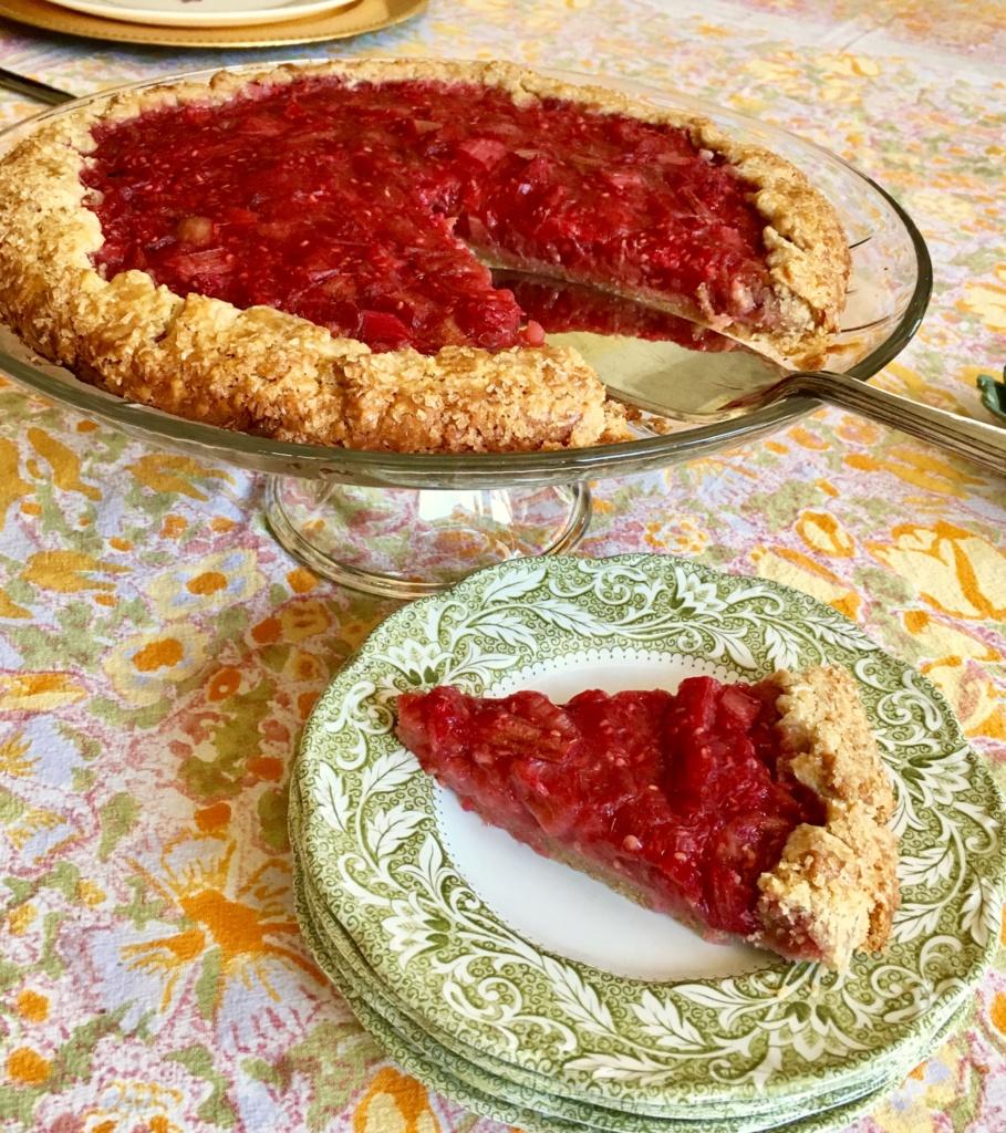 Rhubarb Raspberry Crostata - Rustic Pie - Its Thyme 2 Cook
